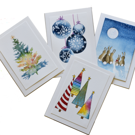THIS CLASS IS FULL (Please check out the session on 11/20/21 for availability) — 11/6/21 – Art a la Carte – Watercolor Winter Holiday Cards with Beth Andrews (1-4pm)
